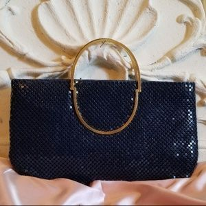 Metal Mesh Navy Clutch with Gold Handles